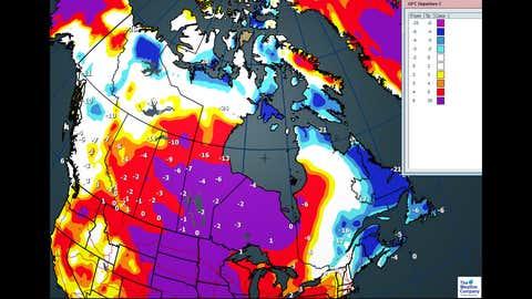 Maximum temperature anomalies for Monday, Dec. 18 (C)