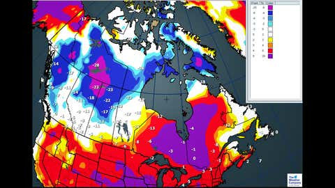 Canada National Forecast:  Max temperature anomalies for Tuesday, Dec. 19 (C)