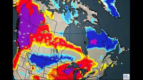 Max Temperatures and Departures Through May 18 (The Weather Channel Canada)
