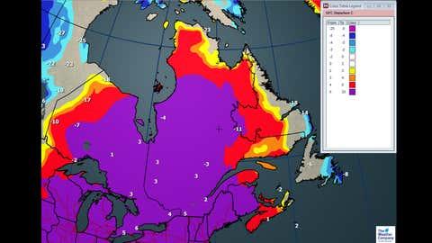 Max Temperatures and departures from average, through Saturday, Jan. 27.