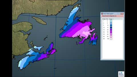 Total snowfall for Nova Scotia and Newfoundland through Tuesday, Jan. 16.
