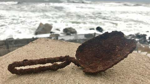 This scoop or shovel was discovered in front of a cottage at White Point when a rogue wave during the storm relocated about 2 feet of sand (Photo courtesy of White Point Beach Resort)