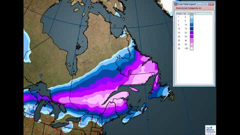 Total snowfall through Wednesday for Central and Atlantic Canada