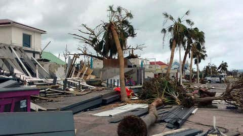 Damaged buildings and fallen trees litter downtown Marigot, on the island of St. Martin, after the passing of Hurricane Irma on Sept. 9, 2017. On the Dutch side of St. Martin, an island divided between French and Dutch control, an estimated 70 per cent of the homes were destroyed by Irma, according to the Dutch government. (twcAmandine Ascensio/THE ASSOCIATED PRESS)