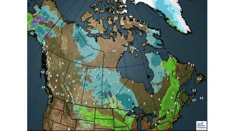 Weather and Max Temperatures for Sunday, October 29, 2017. (The Weather Channel Canada)