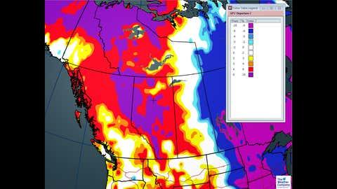 Temperature departures for Thursday, Jan 4.