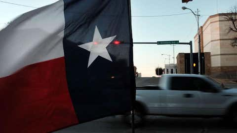 The Texas flag flies in downtown Sweetwater, Texas, on January 19, 2016. (Spencer Platt/Getty Images)