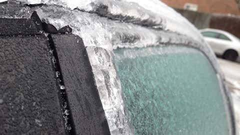 A car is shown coated in ice after a freezing rainstorm in Brampton (Tony Fera/CITYNEWS)
