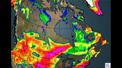 Total Rainfall Through May 18 (The Weather Channel Canada)