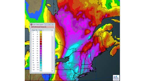 Total Rainfall (mm) expected through Monday (October 30) Night. (The Weather Channel Canada)