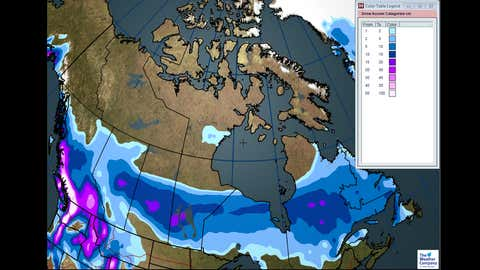 Total Expected Snowfall Through Saturday, Jan 27.