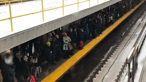 A crowd waits for a TTC subway train, April 14, 2018. Richard Bloom/CityNews