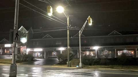 Crosswalk lights fight against strong gusts of wind. (Photo: Katie Hartai/Halifax Today)