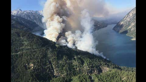 Smoke rising from the Xusum Creek wildfire west of Lillooet on May 23, 2018 (Courtesy: BC Wildifire Service)