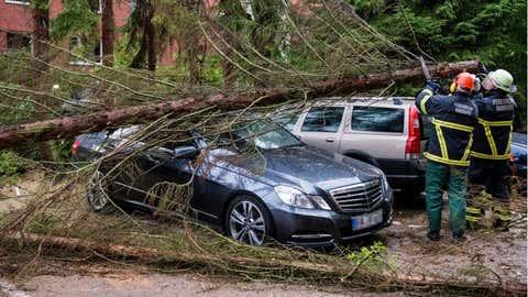 Un árbol deja un coche totalmente destrozado tras una tormenat en Hamburgo, el pasado agosto. DANIEL BOCKWOLDT / AFP / GETTY