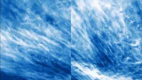 Imagen de nubes noctilucentes captadas con un globo aerostático. NASA / PMC TURBO / JOY NG