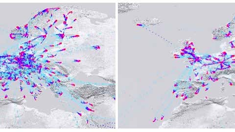 European AMDAR coverage for March 2, 2020 (top) and March 23, 2020 (bottom). Colours indicate the altitude, with red indicating low altitudes. There is a general reduction in report density, particularly over Italy and parts of Eastern Europe. (Stewart Taylor, EUMETNET, via ECMWF)
