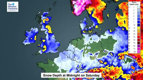 Anticipated snow depths across the UK by Saturday