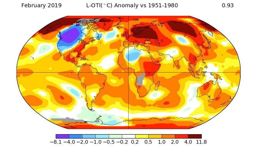 February 2019 Was Earth's 410th Consecutive Month With Above Average Temperatures