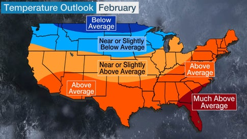 February 2020 Temperature Outlook: Mild in South and East, Cold in North