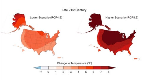 Annual average temperatures across the United States are projected to increase over this century, with greater changes at higher latitudes as compared to lower latitudes, and greater changes under a higher scenario (RCP8.5; right) than under a lower one (RCP4.5; left). This figure shows projected differences in annual average temperatures for end of century (2071–2100; bottom) relative to the near present (1986–2015).