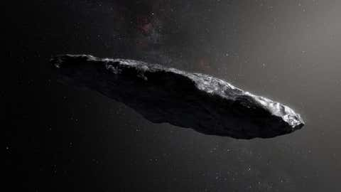 """L'astéroïde """"Oumuamua"""" qui signifie """"messager"""" en hawaïen (credit ESC)"""