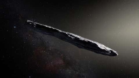 Vue d'artiste d'Oumuamua. (Crédit ESO)