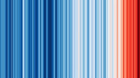Ces barres colorées sont l'œuvre du scientifique britannique Ed Hawkins. (Crédit Ed Hawkins)