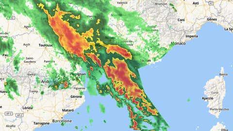 La pluie a cessé de tomer à Trèbes et Carcassonne. (Weather.com)