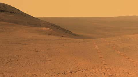 Vue de la surface de Mars prise par le robot Rover. (Nasa)