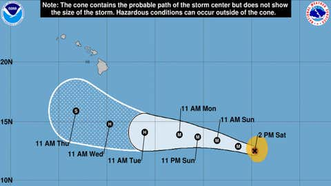 La trajectoire actuelle de l'ouragan Lane. (Crédit NOAA)