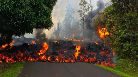 Une coulée de lave du volcan Kilauea, en mai dernier. (USGS)