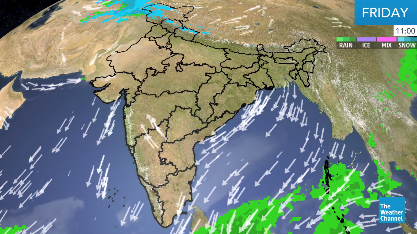 Southern India Gets Rain Due to Wind Convergence