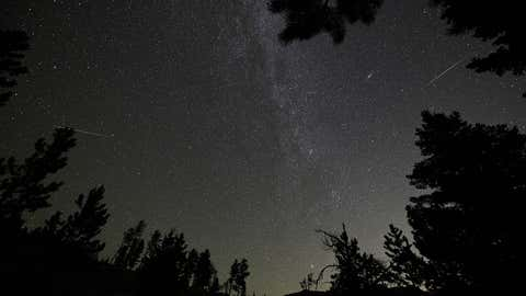 October will see two meteor showers, the Draconids and the Orionids. This image is from the Perseid meteor shower over Rocky Mountain National Park in Colorado in the early morning hours of August 12, 2018. (Stan Honda/AFP/Getty Images)