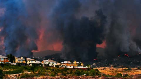 The Holy Fire raging downhill toward the community of Lake Elsinore