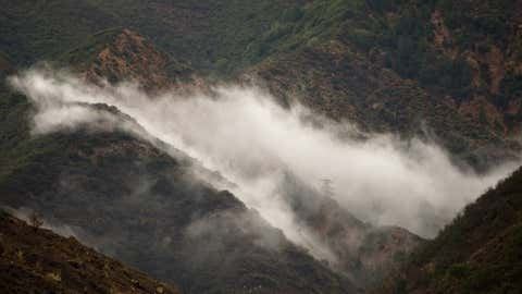 SILVERADO CANYON, CA - DECEMBER 02: Fog hangs low on the mountains in Silverado Canyon as rain threatens the area with mudslides.    ///ADDITIONAL INFORMATION:   Ð MINDY SCHAUER, ORANGE COUNTY REGISTER Ð  shot 120214   (Photo by Mindy Schauer/Digital First Media/Orange County Register via Getty Images)