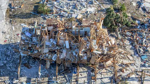 Homes and businesses along US 98 are left in devastation by Hurricane Michael on Oct. 12, 2018 in Mexico Beach, Fla. The deadly hurricane made landfall along the Florida Panhandle Wednesday as a Category 4 storm. (Mark Wallheiser/Getty Images)
