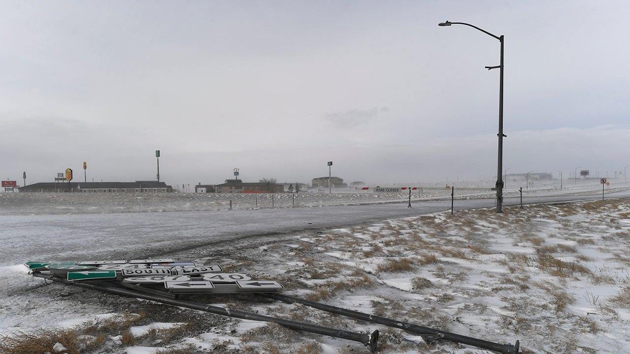 Strong winds from Bomb Cyclone Ulmer blew over a road sing on March 14, 2019, in Limon, Colo. (RJ Sangosti/MediaNews Group/The Denver Post via Getty Images)