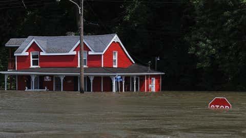 Flooding from the Mississippi River inundates a neighborhood on June 7, 2019, in Grafton, Ill. Residents along Mississippi river are bracing for the expected arrival of the crest at near record levels on Friday. (Michael B. Thomas/Getty Images)