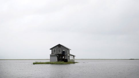 Water recedes from around a fish camp following Hurricane Barry on July 14, 2019 in Wilkerson Bayou, La. (Scott Olson/Getty Images)