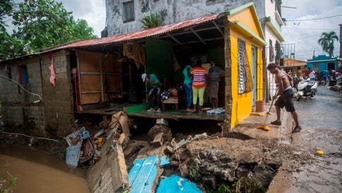 View of a destroyed house after the overflow of the Magua River due to heavy rains caused by Hurricane Isaias in the city of Hato Mayor, northwest of Santo Domingo, Dominican Republic, on July 31, 2020. (Erika Santelices/AFP via Getty Images)