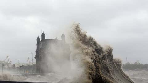 Waves lash the Gateway of India in Mumbai due to Cyclone Tauktae on May 17, 2021. (Sujit Jaiswal/AFP via Getty Images)