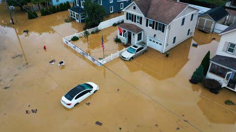 HELMETTA, NJ - AUGUST 22: An aerial view of flooded streets are seen in Helmetta of New Jersey, United States on August 22, 2021 as Tropical Storm Henri hit east coast. (Photo by Tayfun Coskun/Anadolu Agency via Getty Images)