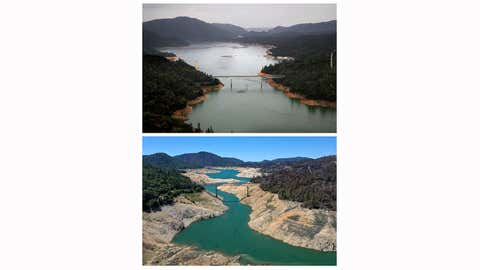 In this composite image a comparison has been made between an aerial view of California when the state's severe drought emergency was lifted in 2017 (top) and a week after California Gov. Gavin Newsom declared a drought emergency in two counties in 2021 (bottom). **TOP IMAGE** OROVILLE, CA - APRIL 11: The Enterprise Bridge passes over a section of Lake Oroville on April 11, 2017 in Oroville, Calif. After record rainfall and snow in the mountains, much of California's landscape has turned from brown to green and reservoirs across the state are near capacity. California Gov. Jerry Brown signed an executive order Friday to lift the State's drought emergency in all but four counties. The drought emergency had been in place since 2014. **BOTTOM IMAGE** The Enterprise Bridge crosses over a section of Lake Oroville where water levels are low on April 27, 2021, in Oroville, Calif. Four years after then California Gov. Jerry Brown signed an executive order to lift the California's drought emergency, parts of the state have re-entered a drought emergency with water levels dropping in the state's reservoirs. Water levels at Lake Oroville have dropped to 42% of its 3,537,577 acre foot capacity. (Justin Sullivan/Getty Images)