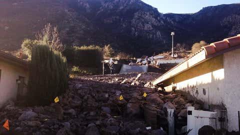Camarillo, Ca - December 13, 2014. Pov of the Pineapple Express storm caused mudslide damage in Camarillo Springs, Ca.