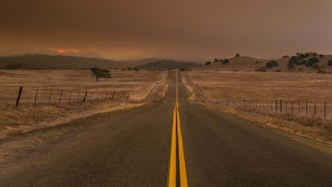 SANTA YNEZ, CA - DECEMBER 11:  A thick layer of smoke and ash from the Thomas Fire, currently burning in Ventura County and along the eastern edges of Santa Barbara County, blankets the valley on December 11, 2017, near Santa Ynez, California. Because of its close proximity to Southern California and Los Angeles population centers, combined with a Mediterranean climate, the coastal regions of Santa Barbara have become a popular weekend getaway destination for millions of tourists each year. (Photo by George Rose/Getty Images)