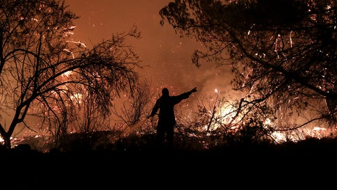 Greece Wildfire Burning Out of Control In Nature Preserve Forces Evacuation of Hundreds