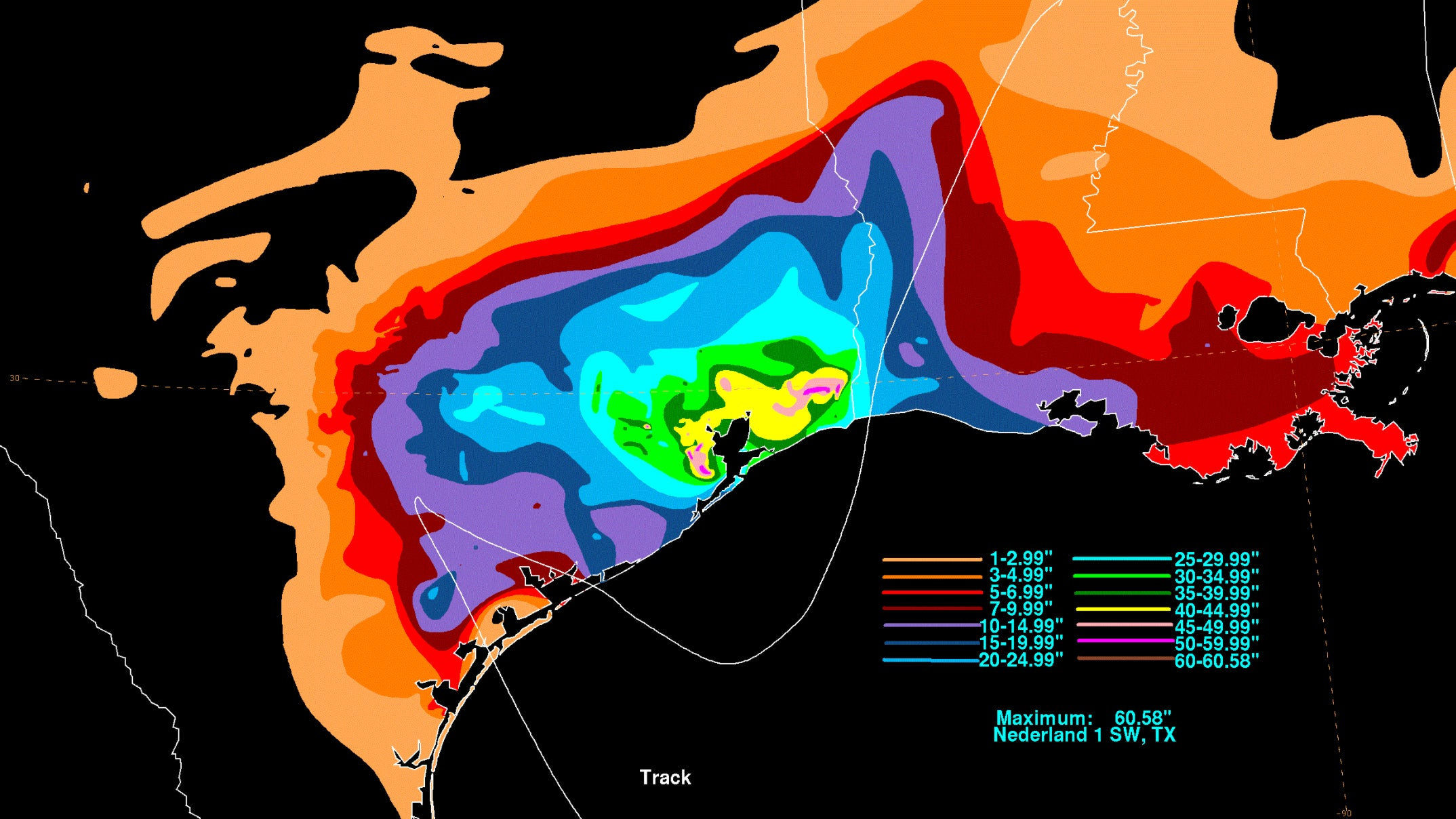 Hurricane Harvey slammed into the Texas coast at Category 4 intensity with devastating storm surge and high winds, then slowed to a crawl dumping record rainfall over southeast Texas during an agonizing crawl in late August 2017, producing massive flooding. (Map: David Roth/NOAA/NWS/WPC)