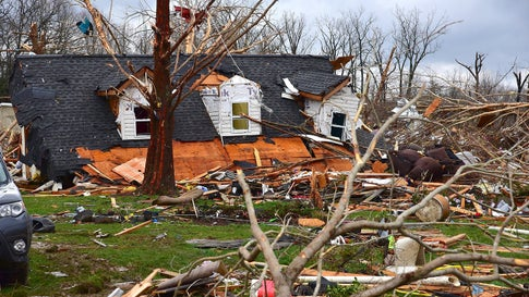 A home is seen destroyed in Cookeville, Tenn. at least 17 people died in surrounding Putnam County where tornadoes struck early on Tuesday, March 3, 2020. (Jack McNeely/Cookeville Herald-Citizen)