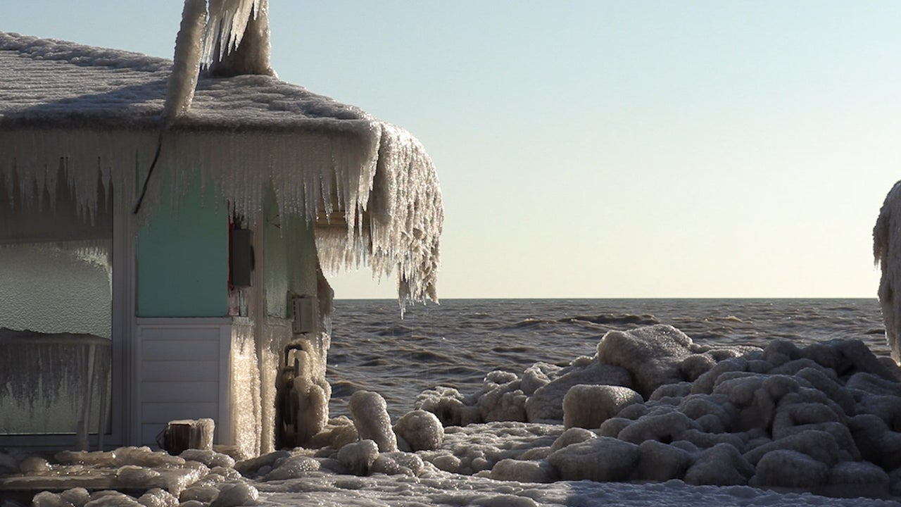 Homes Encased in Ice Along Lake Erie
